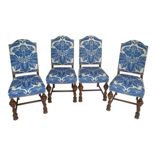 Stroheim Blue & White Damask Linen Dining Chairs - Set of 4