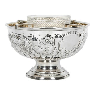 Antique English Sterling Silver Caviar Dish Service For Sale