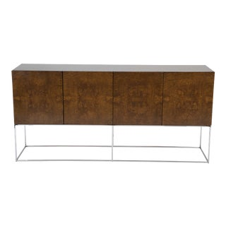 A Four Door Burled Wood Sideboard on Chrome Base by Milo Baughman For Sale