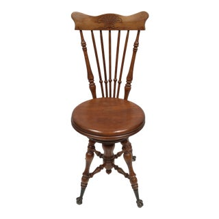 Antique Victorian High Back Swivel Piano Stool For Sale