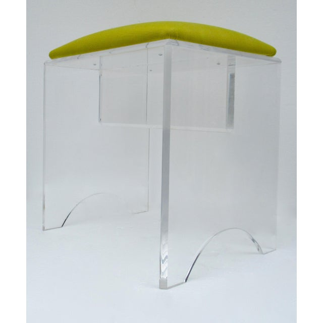 Vintage Mid-Century Lucite Bench With Sunbrella Indoor/Outdoor Textile For Sale - Image 9 of 13