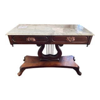 Vintage Victorian Harp Base Marble Top Entry Table With 2 Drawers For Sale