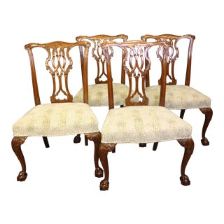 1980s Vintage Baker Furniture Chippendale Style Side Chairs- Set of 4 For Sale