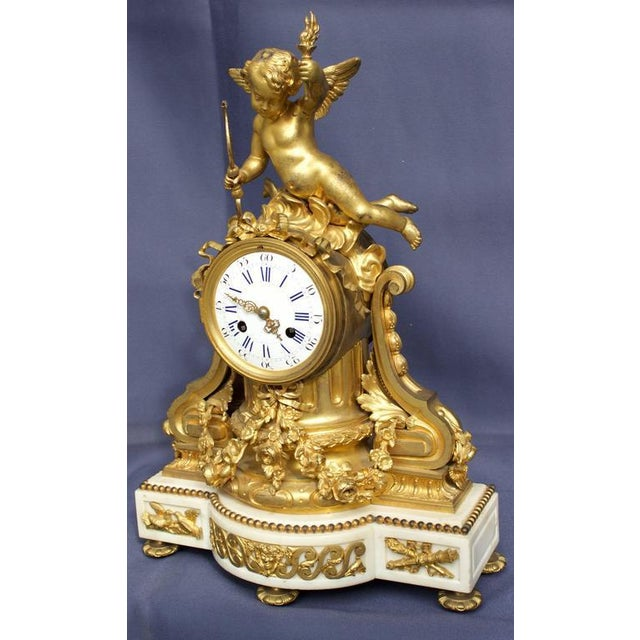 French Early 19th Century Antique French Louis XVI Style Figural Clock For Sale - Image 3 of 11