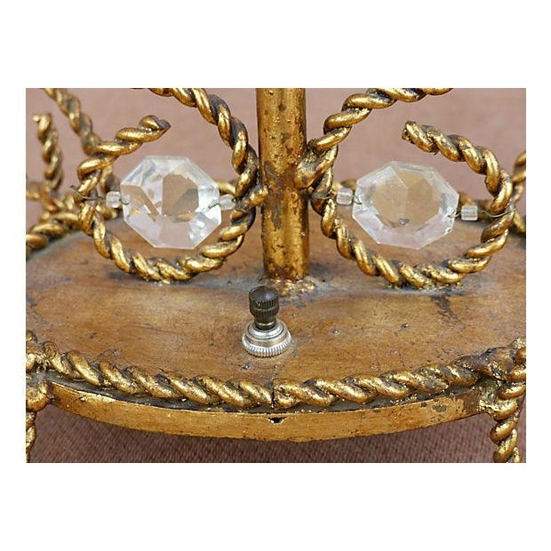 Glass Vintage Gilt Rope-Twist & Crystal Lamps - A Pair For Sale - Image 7 of 9