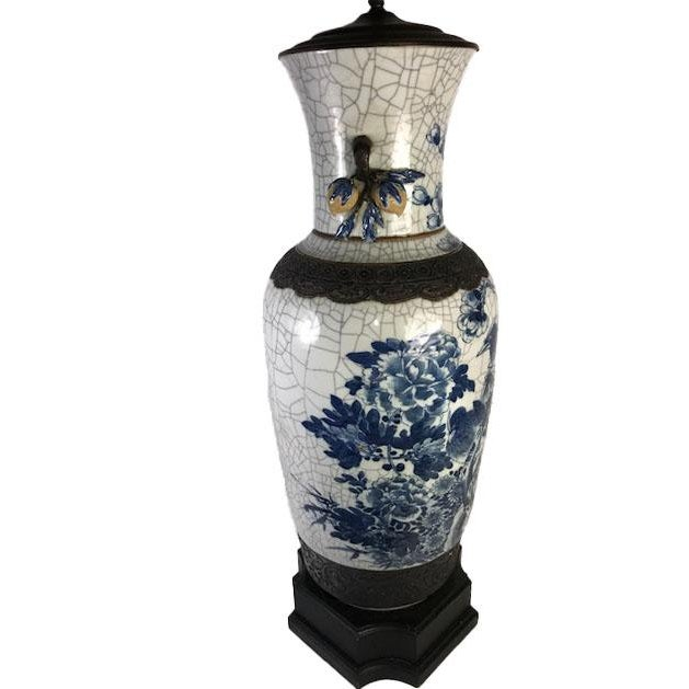 19th Century Antique Chinese Crackle Vase as a Lamp For Sale - Image 4 of 4