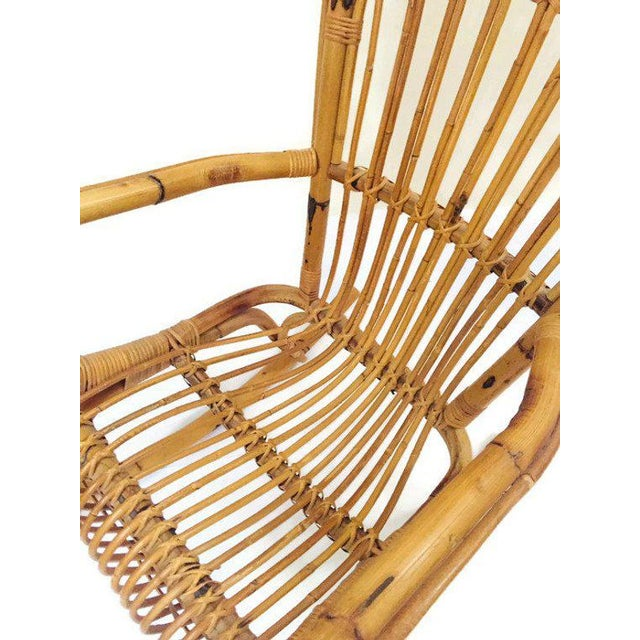 Mid Century Sculpted Bamboo Rocking Chair High Back Franco Albini Style Rocker For Sale - Image 9 of 11