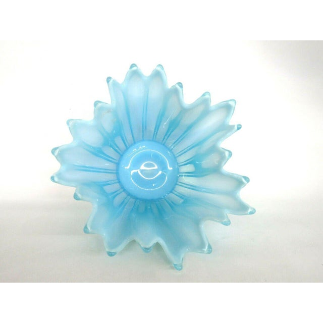 Fostoria Heirloom Style Blue Opalescent Glass Crimped Handkerchief Bowl For Sale - Image 10 of 11