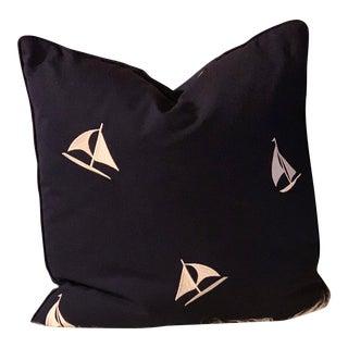Ralph Lauren Ocean Racer Embroidered Dark Sea Pillow For Sale