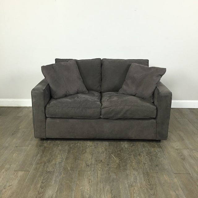Room & Board Charcoal Suede Loveseat - Image 2 of 11