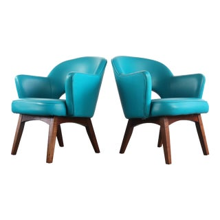 Set of Two Teal Mid Century Modern Lounge Chairs by Patrician Furniture For Sale