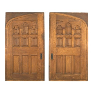 English Victorian Gothic Oak Doors - a Pair For Sale