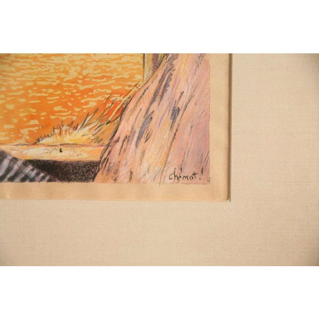 One of a Kind Art Deco Watercolor by Eduard Chimot Custom Framed For Sale In Miami - Image 6 of 11