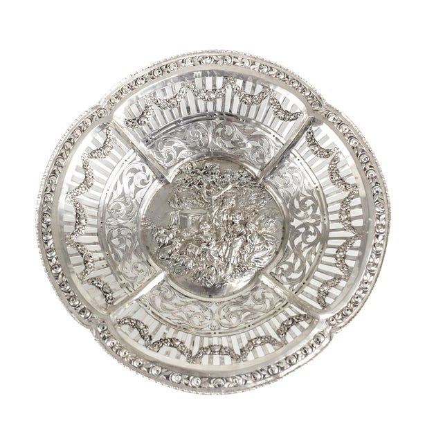 German 800 Silver Pierced Scalloped Repousse Floral Swags Rim Bowl, Circa 1900 - Image 1 of 5