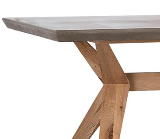 Beautiful Sleek Outdoor Dining Table With Lightweight Concrete Top And  Unique Design Oak Wood Base.