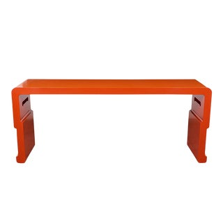Chinese Console Table With Orange Lacquered Finish For Sale