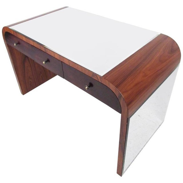 Italian Modern Writing Desk in Rosewood For Sale - Image 10 of 10