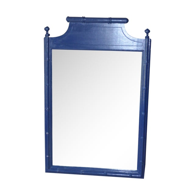 Vintage Henry Link Bali Hai Faux Bamboo Mirror For Sale