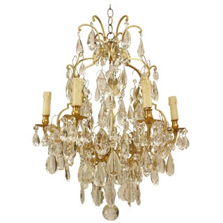 19th Century French Louis XV Style Bronze and Crystal Chandelier For Sale