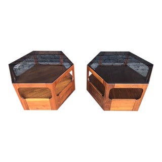 Mid Century Pair of Side Tables by Brown Saltman For Sale