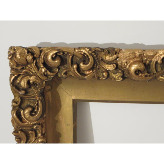 Americana Antique Wood Gesso Gold Gild Picture Frame for Painting or Mirror For Sale - Image 3 of 9