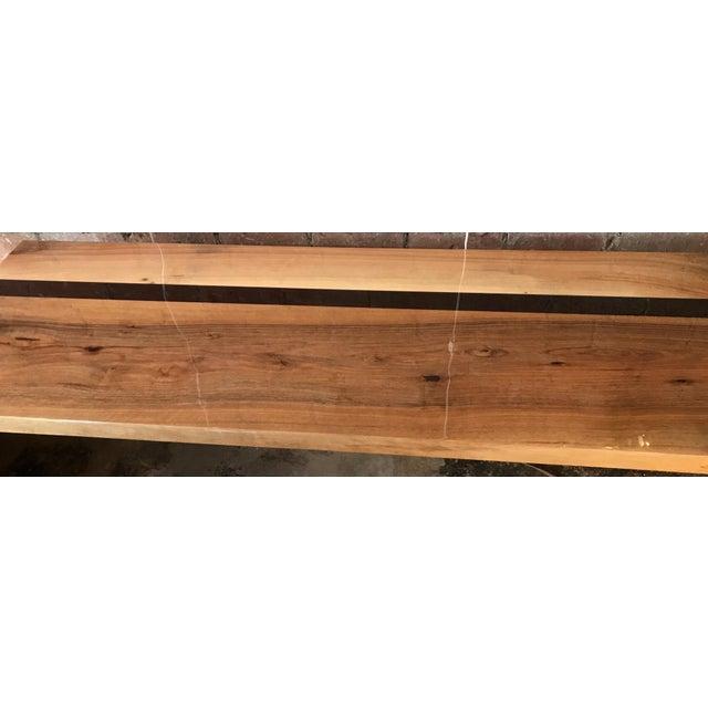 Italian Minimalist Monolithic Oak Bench For Sale - Image 9 of 10