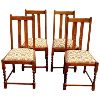 Set of Four Mission Style Oak Chairs with a Twist For Sale