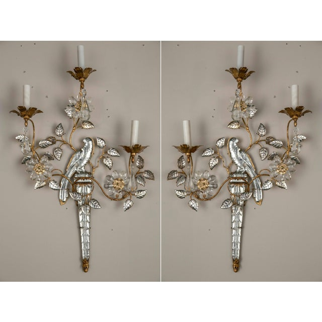 Bronze French Three-Light Bronze Sconces - a Pair For Sale - Image 8 of 8