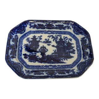 Antique Cobalt Flow Blue Rectangular Platter For Sale