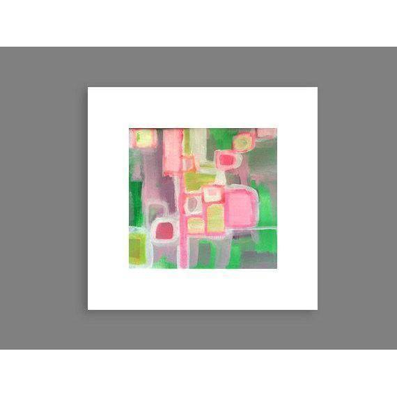 Pink & Green Abstract Painting by Linnea Heide - Image 4 of 4