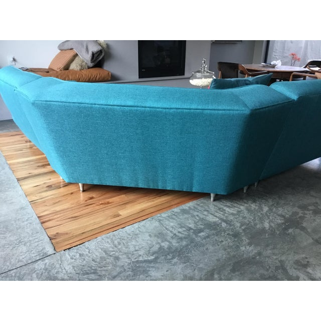 Turquoise Mid Century Sectional Sofa For Sale - Image 8 of 10