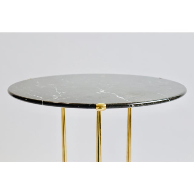 Black Cedric Hartman Brass and Marble Side Table For Sale - Image 8 of 9