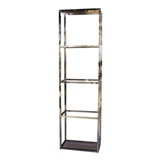 Narrow and Tall Mid-Century Modern Chrome and Glass Etagere Shelf
