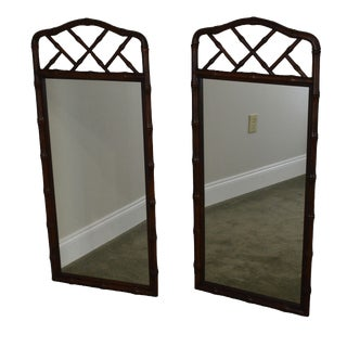 1970s Vintage Henredon Mahogany Faux Bamboo Mirrors - a Pair For Sale