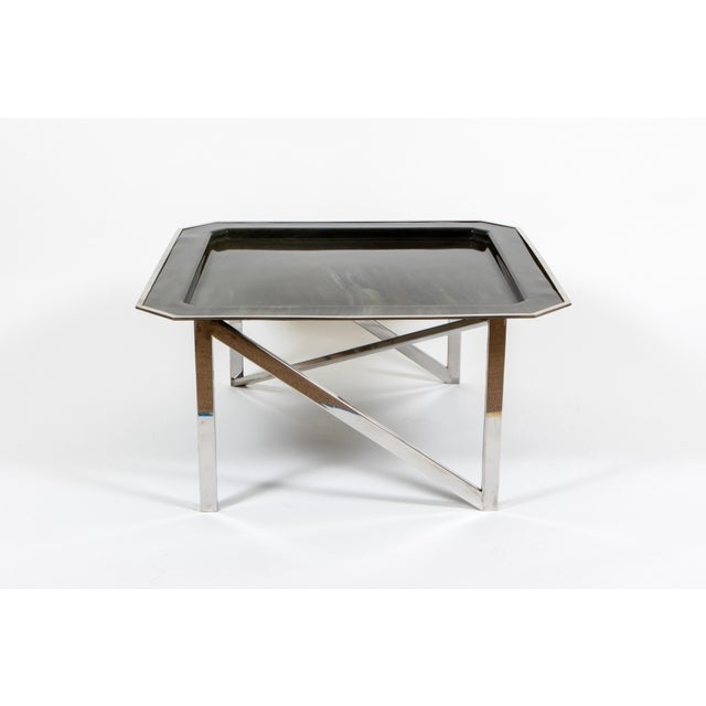 Hollywood Regency Marble Printed Lacquered Parchment Table For Sale - Image 3 of 3