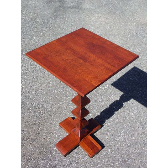 Vintage Ethan Allen American Solid Cherry Square Pedestal End Table Plant Stand For Sale In Providence - Image 6 of 11