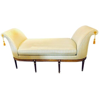 A Fine Louis XVI Style Chaise Lounge or Daybed in a Silk Upholstery For Sale