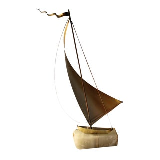 Brass Ship Sculpture by DeMott - Mid-Century For Sale