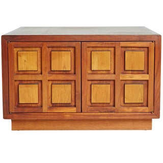 1960s Cherrywood Side Cabinet With Carved Square Relief Panels For Sale