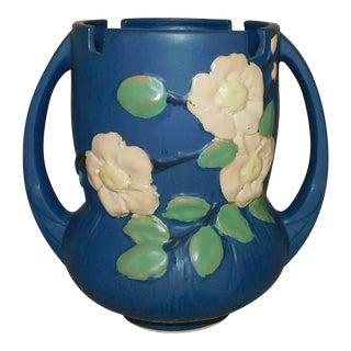 Roseville-Style White Rose Vase For Sale