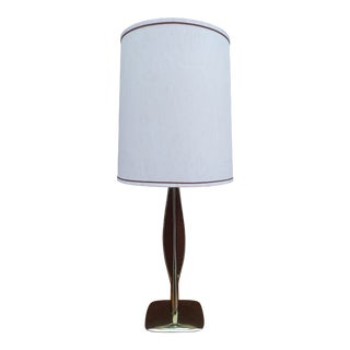 Laurel Lamp Co. Brass & Walnut Table Lamp With Shade For Sale