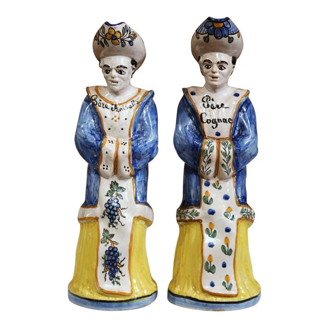 19th Century French Hand-Painted Ceramic Bar Figurines or Pitchers - a Pair For Sale
