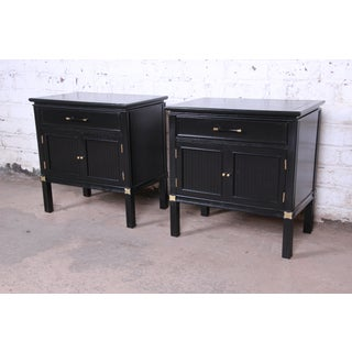 Tamerlane Collection Hollywood Regency Chinoiserie Ebonized Nightstands, Pair Preview