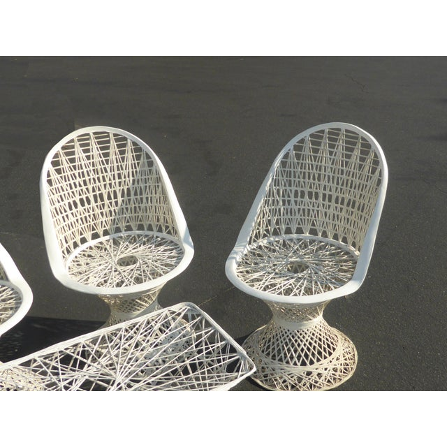 Four Spun Fiberglass White Chairs & Coffee Table by Russell Woodard Patio Set - Image 7 of 11