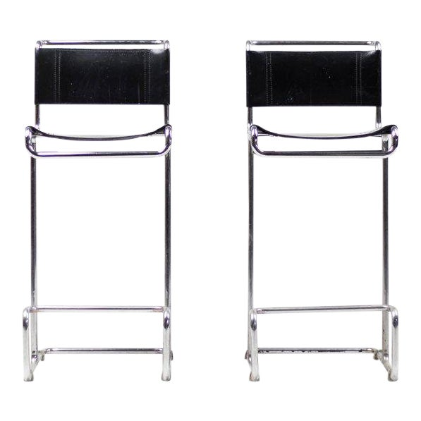 Pair of Leather Bar Stools, Bauhaus, Mart Stam For Sale