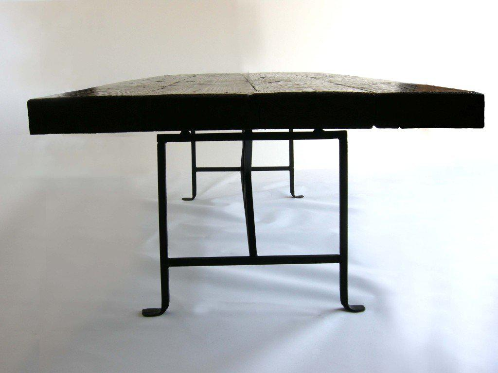 Reclaimed Wood Dining Table With Hand Forged Iron Base   Image 8 Of 8