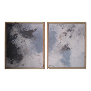 """Earth Water"" Original Diptych Abstract Art by Kris Gould For Sale"
