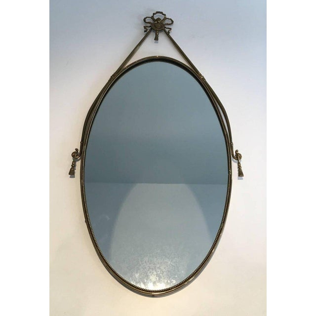 Neoclassical Brass Oval Mirror With a Ribbon Decoration - Image 10 of 11