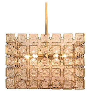Italian 1970s Sciolari Gold and Crystal Disk Geometric Cube Chandelier For Sale