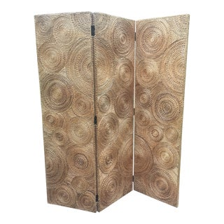Vintage Coiled Rope Folding Screen Room Divider For Sale